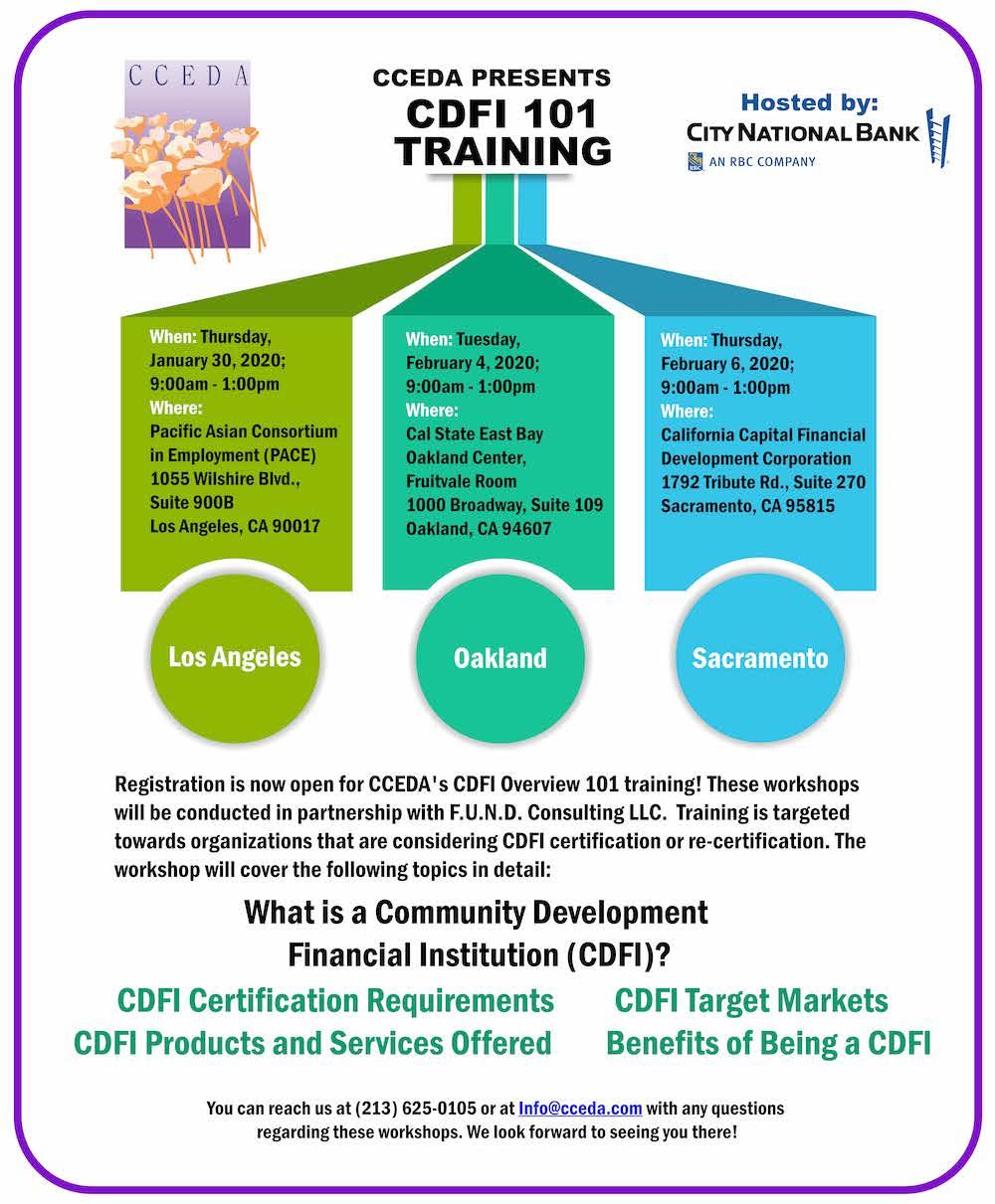 CCEDA CDFI 101 Training Flyer